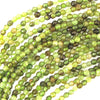 3mm faceted green garnet round beads 15.5