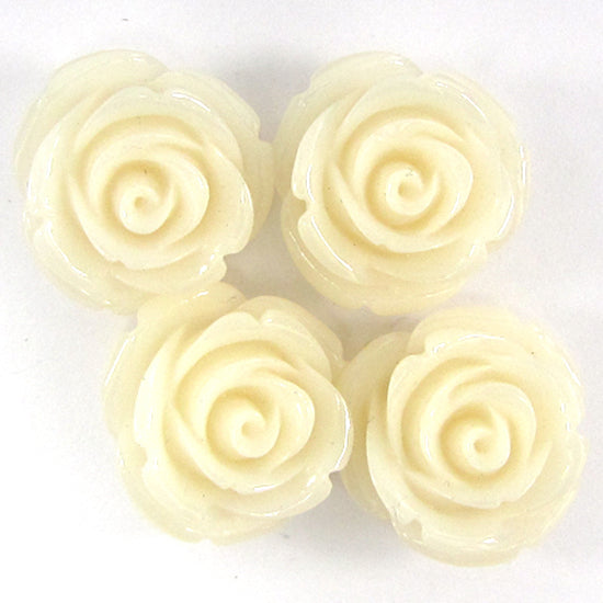 8 20mm synthetic coral carved rose flower pendant bead white