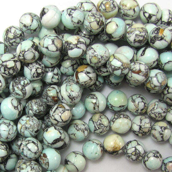 "10mm blue mosaic flower turquoise round beads 15.5"" strand"