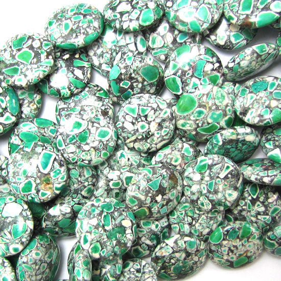 "20mm green mosaic flower turquoise coin beads 16"" strand"
