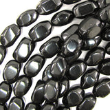 14-18mm black glass nugget beads 15