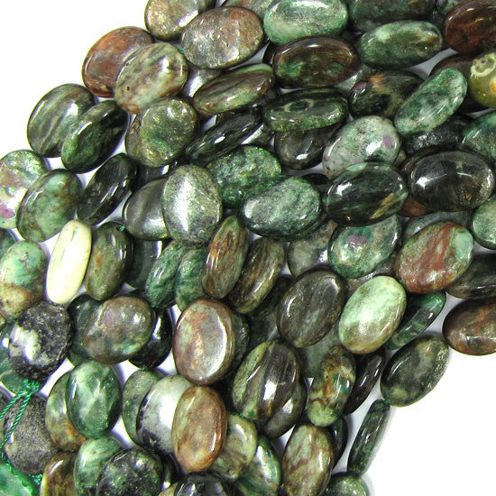 "10x14mm ruby zoisite flat oval beads 16"" strand"