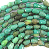 10mm faceted green chrysoprase teardrop beads 15.5