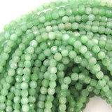 4mm faceted green quartz round 16
