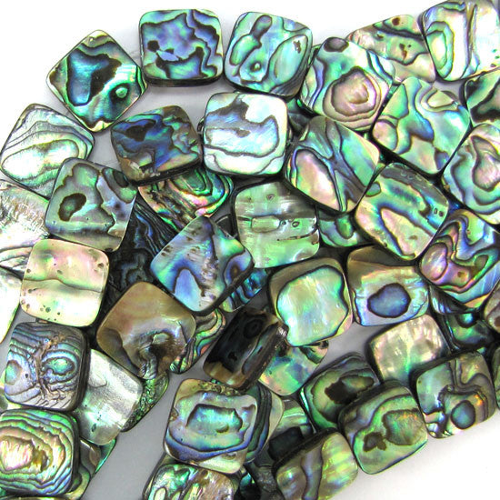 "14mm abalone shell flat square beads 16"" strand"