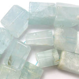 18-23mm faceted natural aquamarine cylinder beads 15.5