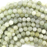 8mm new jade carved round beads 15.5