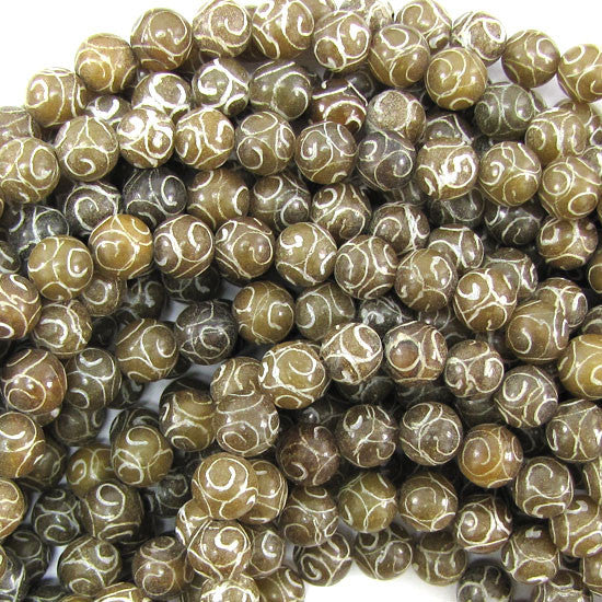"8mm antique jade carved round beads 15.5"" strand"