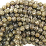 8mm antique jade carved round beads 15.5