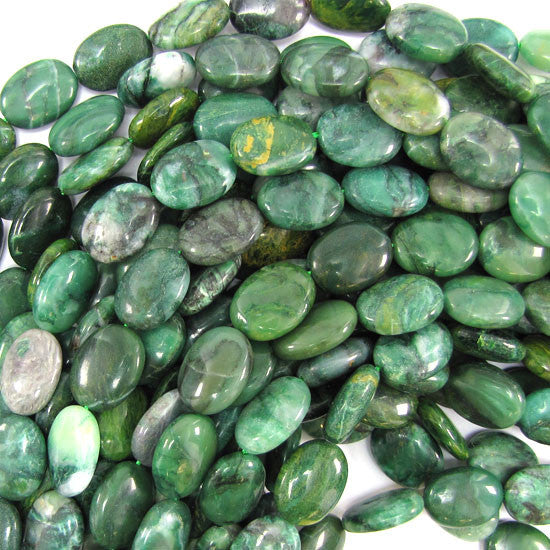 "16mm green african jade flat oval beads 15.5"" strand"