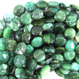 14mm green african jade coin beads 15.5