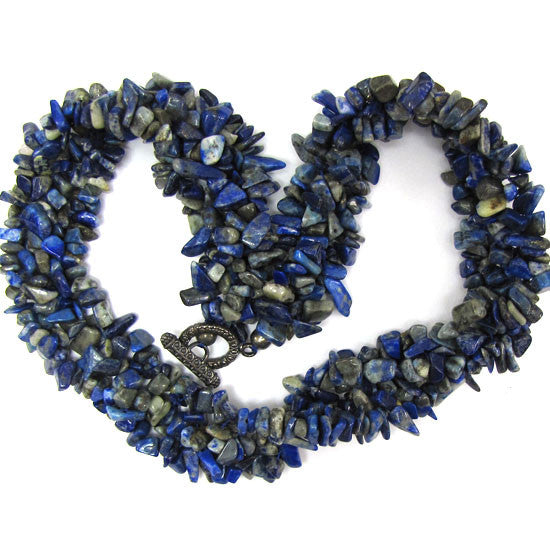 30mm blue lapis lazuli chip bead necklace 18""