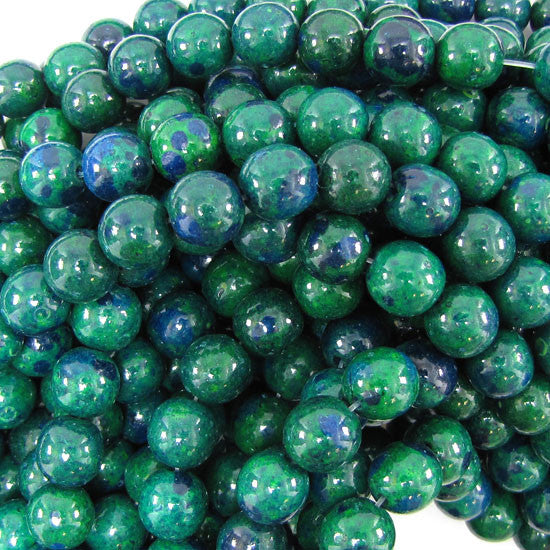 "10mm blue green chrysocolla round beads 15.5"" strand"