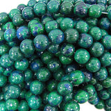 10mm blue green chrysocolla round beads 15.5