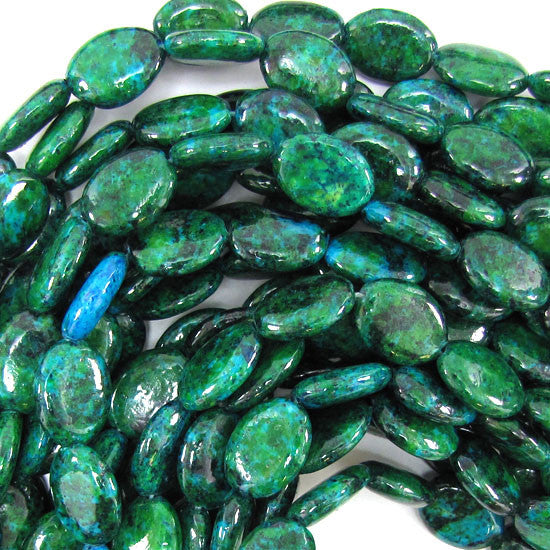 "12x16mm blue green chrysocolla flat oval beads 15.5"" strand"