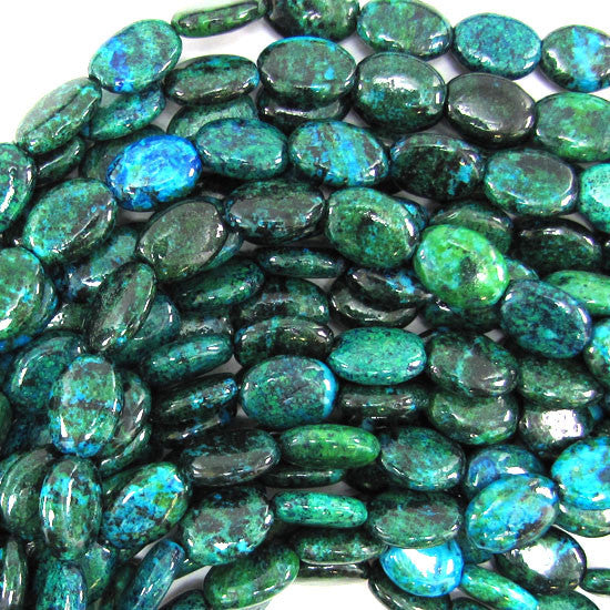 "10x14mm blue green chrysocolla flat oval beads 15.5"" strand"