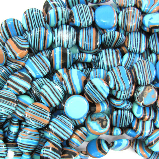 "14mm blue rainbow calsilica coin beads 15.5"" strand"