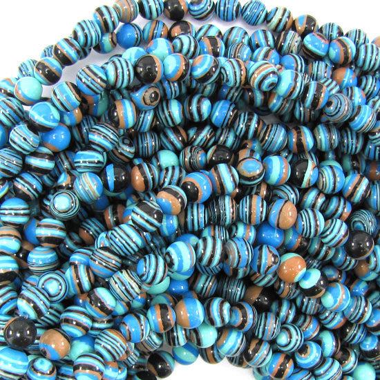 "6mm blue rainbow calsilica round beads 15.5"" strand"