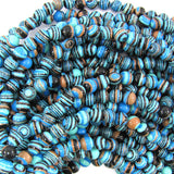6mm blue rainbow calsilica round beads 15.5