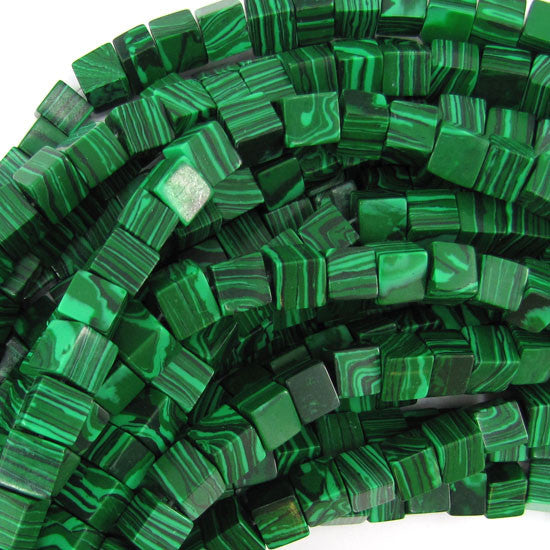 "8mm synthetic green malachite cube beads 15.5"" strand S1"
