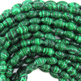 12mm synthetic green malachite barrel beads 15.5