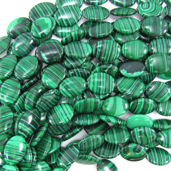 "12x16mm synthetic green malachite flat oval beads 15.5"" strand S2"