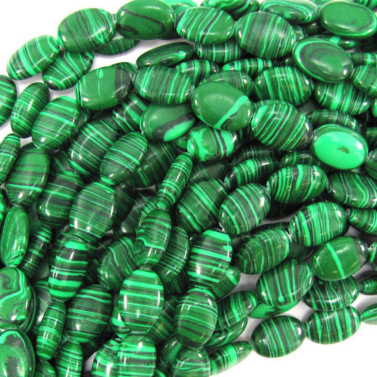 "12x16mm synthetic green malachite flat oval beads 15.5"" strand"