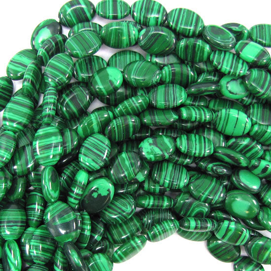 "10x14mm synthetic green malachite flat oval beads 15.5"" strand"
