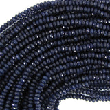 4mm faceted sapphire blue jade rondelle beads 15