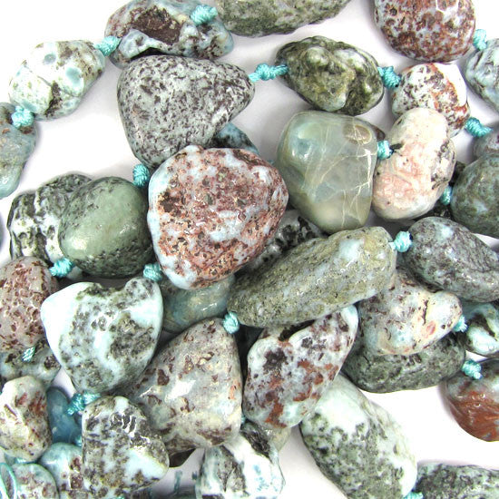 "13-33mm natural blue larimar nugget beads 15.5"" strand"