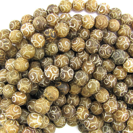 "10mm brown jade carved round beads 15.5"" strand"