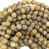 10mm brown jade carved round beads 15.5