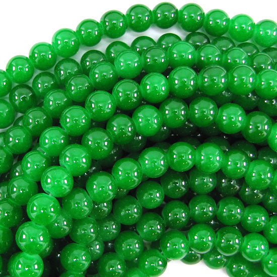 "8mm glass round beads 14"" strand dark green"