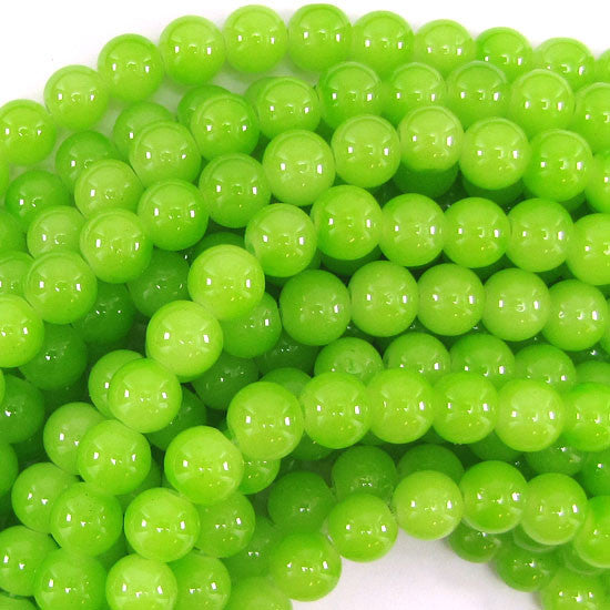 "8mm glass round beads 14"" strand green"