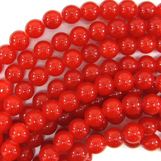 "10mm glass round beads 14"" strand red orange"