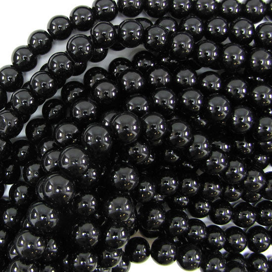 "10mm glass round beads 14"" strand black"