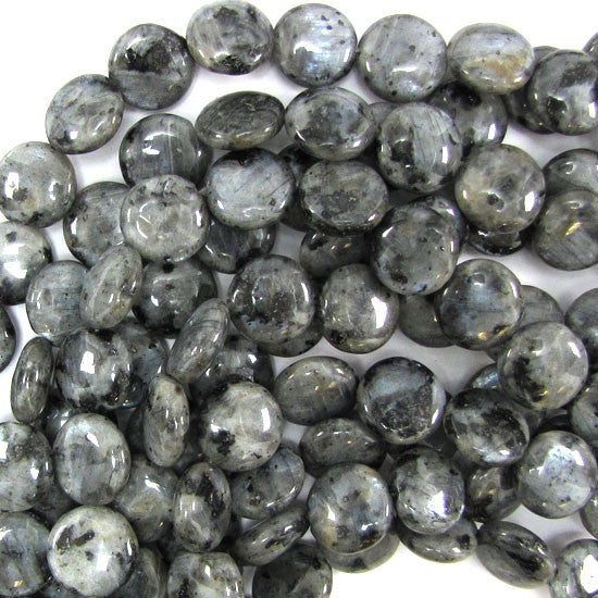 "14mm grey labradorite larvikite coin beads 14.5"" strand"