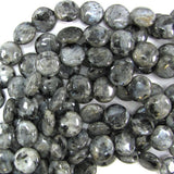 14mm grey labradorite larvikite coin beads 14.5