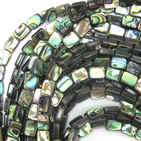 "10mm abalone shell rectangle beads 15.5"" strand"
