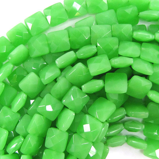 "10mm faceted green chalcedony quartz flat square 15.5"" strand"