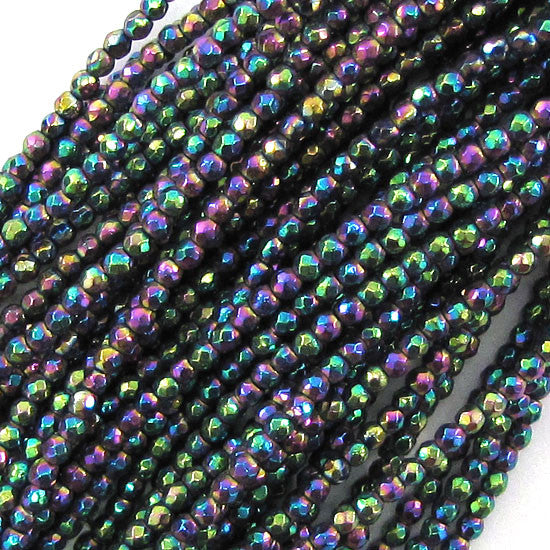"2mm faceted hematite round beads 15.75"" strand rainbow S1"