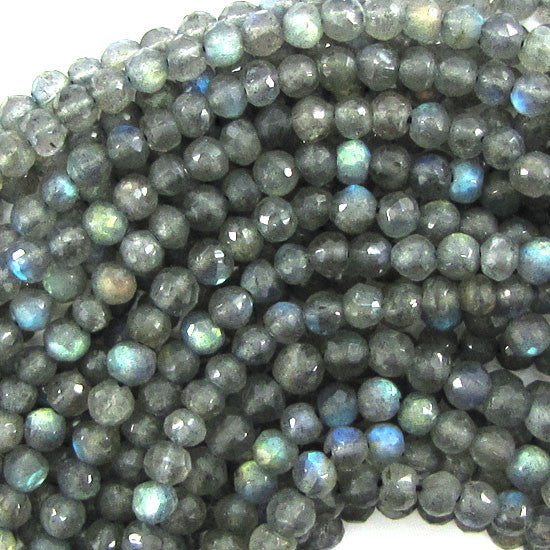 "4mm faceted grey labradorite round beads 15"" strand"