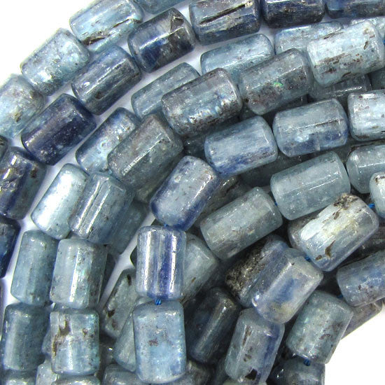 "12mm blue kyanite cylinder beads 15.5"" strand"