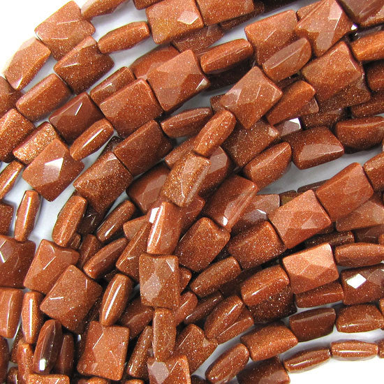 "8x10mm faceted goldstone rectangle beads 15.5"" strand"