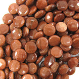 12mm faceted goldstone coin beads 15.5