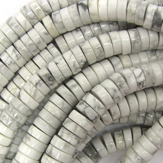 "10mm white howlite heishi beads 16"" strand"