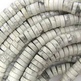 10mm white howlite heishi beads 16