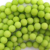 "10mm frost jade round beads 15"" strand lemon green"