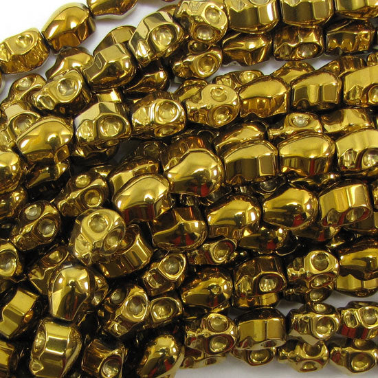"8x10mm hematite carved skull beads 8"" strand gold color"