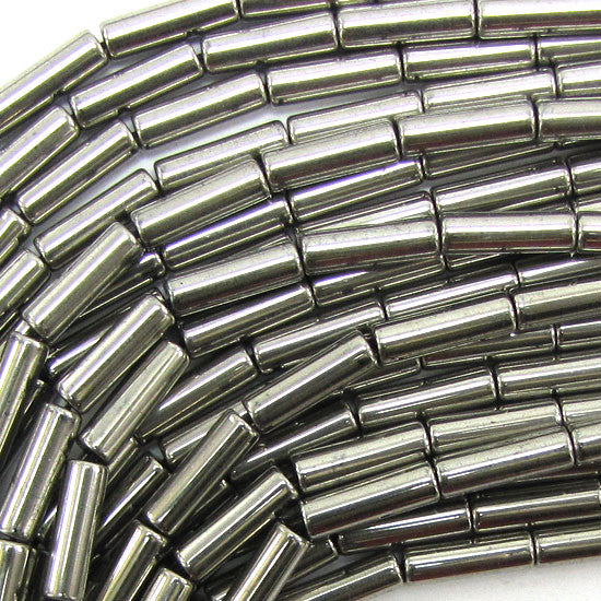 "13mm hematite tube cylinder beads 16"" strand pyrite color"